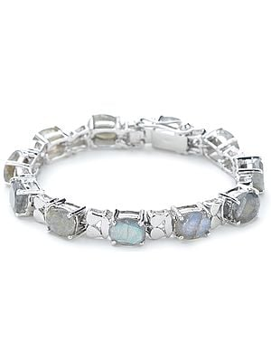 Superfine Sterling Silver Chain Bracelet with Oval-Cut Faceted Labradorite Stones