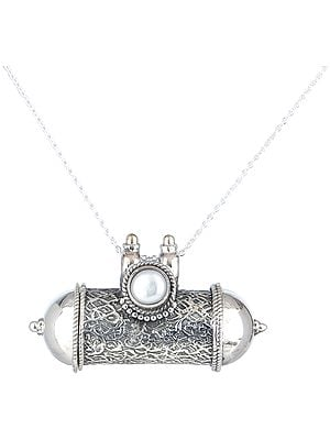 Capsule Pendant with Engravings and Semi-Precious Gemstone