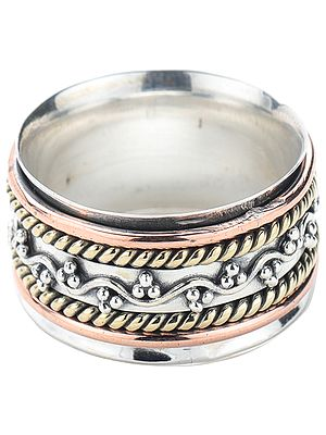 Sterling Silver Three Tone Meditation Spinner Ring with Floral Vines
