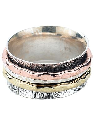 Sterling Silver Three Tone Textured Meditation Spinner Ring
