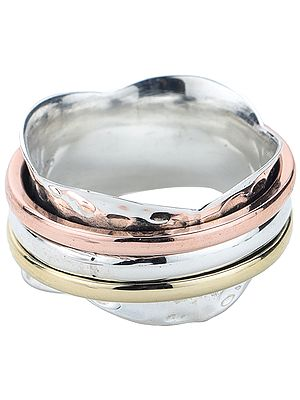 Sterling Silver Three Tone Solid Meditation Spinner Ring