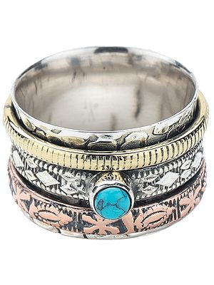 Sterling Silver Three Tone Meditation Spinner Ring with Turquoise Stone