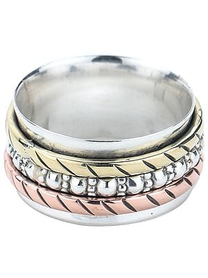 Sterling Silver Three Tone Meditation Spinner Ring