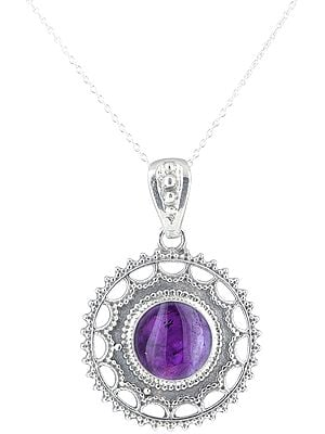Chakra Sterling Silver Pendant with Round Gemstone