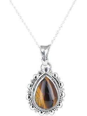 Chakra Sterling Silver Pendant with Tear-drop Gemstone