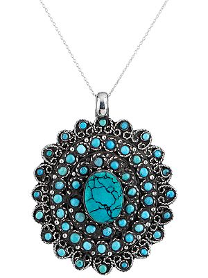 Spider-Web Turquoise Multi-Stone Sterling Silver Pendant with from Nepal