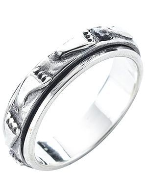 Lord Krishna's Feet Sterling Silver Meditation Spinner Ring