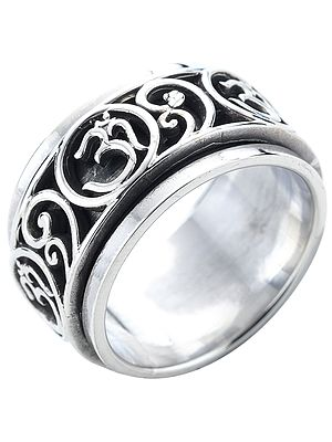 OM (AUM) Sterling Silver Meditation Spinner Ring