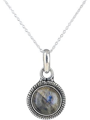 Sterling Silver Pendant with Round Gemstone