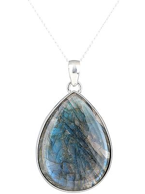 Big Tear-Drop Labradorite Sterling Silver Pendant