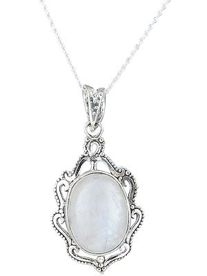 Sterling Silver Pendant with Oval Gemstone
