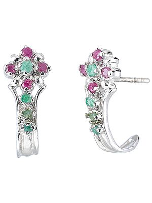 Emerald and Ruby Studded Sterling Silver Earrings