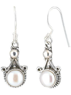 Sterling Silver Earrings Studded with Pearls
