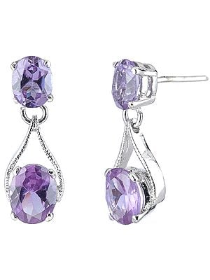 Oval Cut Amethyst Stones Pronged Sterling Silver Earrings