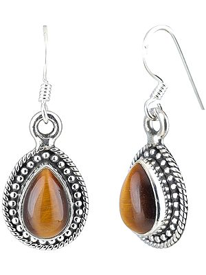 Tiger-Eye Studded Sterling Silver Drop Shapped Earrings