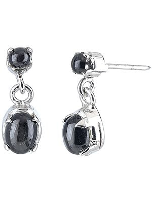 Black-Onyx Studded Sterling Dangling Earrings