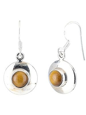 Tiger-Eye Studded Sterling Silver Round Earrings