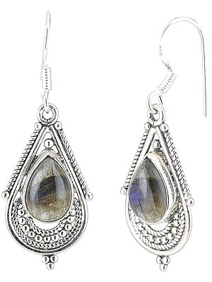 Labradorite Studded Sterling Silver Tear-Drop Earrings