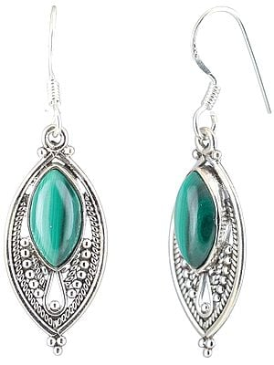 Malachite Studded Sterling Silver Dangling Earrings