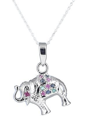 Elephant Shapped Multi-Stoned Sterling Silver Pendant