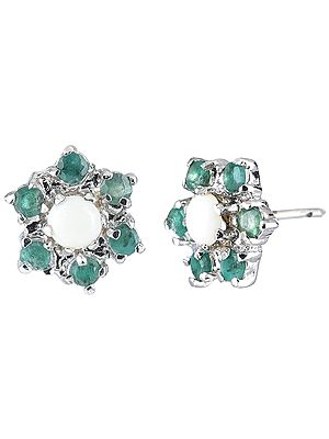 Sterling Silver Tops Studded with Opal and Emeralds