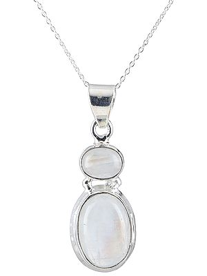 Two-Stones Dangling Sterling Silver Pendant Oval Rainbow-Moonstones
