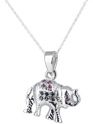 Multi-Stoned 3-D Elephant Sterling Silver Pendant
