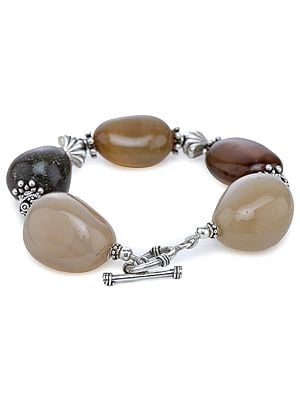 Sterling Silver Chunky Bracelet with Agate Tumbles
