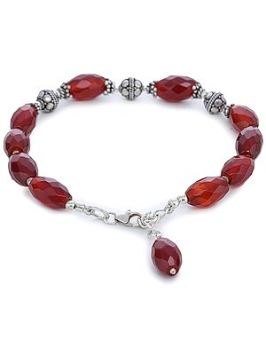 Sterling Silver Bracelet with Faceted Garnet Beads and Lobster Lock