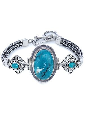 Turquoise Bracelet with Sterling Silver Snake Chain
