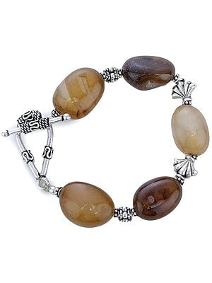 Sterling Silver Bracelet with Chunky Agate Tumbles