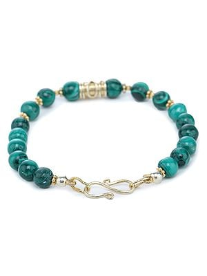 Gold-Plated Sterling Silver Bracelet with Malachite Beads