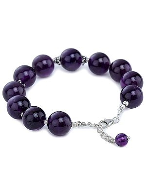 Sterling Silver Bracelet with Big Round Amethyst Beads