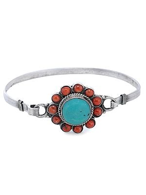 Sterling Silver Bracelet with Coral and Turquoise Gemstones