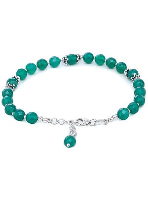 Green-Onyx Bracelet with Sterling Silver Beads