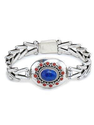 Sterling Silver Bracelet with Coral and Lapis Lazuli Gemstones