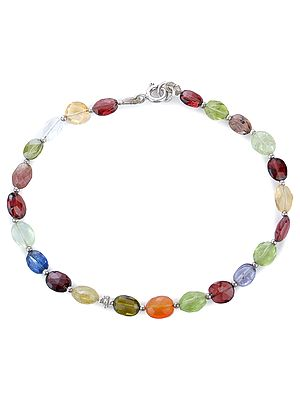Multi-Stone Faceted Bracelet with Sterling Silver Beads