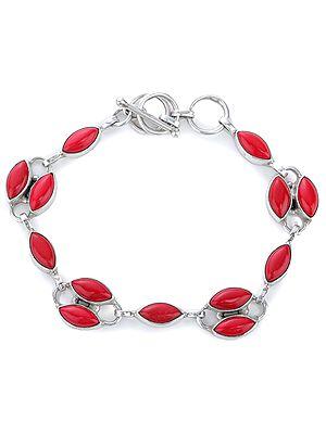 Coral Studded Sterling Silver Bracelet