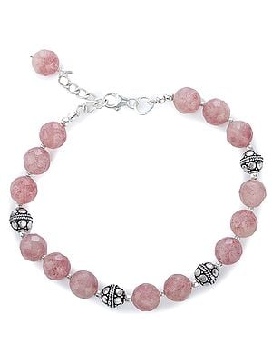 Rose-Quartz Bracelet with Sterling Silver Beads