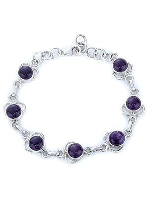 Amethyst Studded Sterling Silver Bracelet