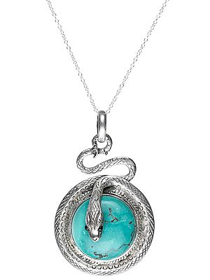 Sterling Silver Snake Pendant with Turquoise