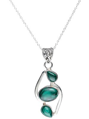 Sterling Silver Pendant with Three Gemstones