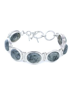 Rutilated Beads in Sterling Silver Bracelet