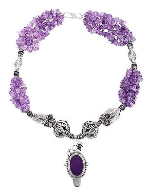 Graceful Amethyst Necklace With Garnet Beads