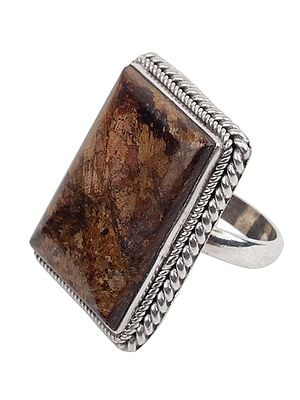 Square Agate Ring With Sterling Silver