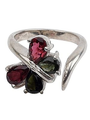 Butterfly Tourmaline Ring With A Stylized Sterling Silver Band