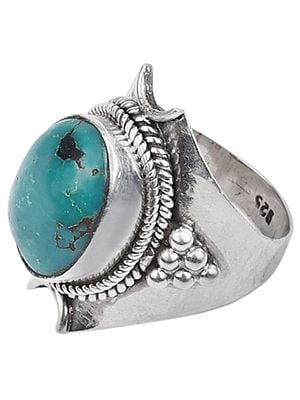 Fine Turquoise Ring With Sterling Silver
