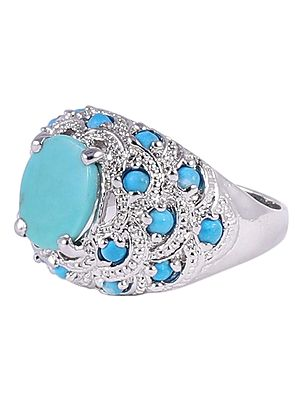 Super Fine Turquoise Ring with Sterling Silver