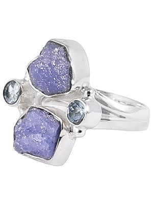 Rugged Precious Gemstone Ring with Sterling Silver