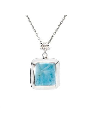 Square Amazonite Gemstone Pendant with Sterling Silver